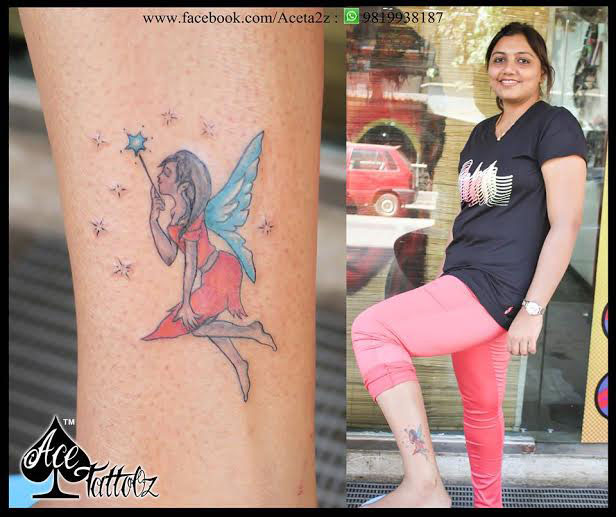 Unique Ankle Tattoo Designs for Women with Colourful Fairy on Leg