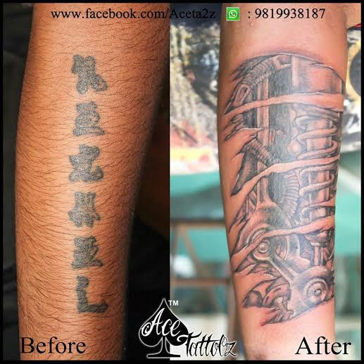 Cover Up Tattoo Design On Leg
