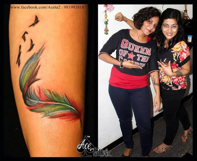 Multicolor feather tattoo with Birds