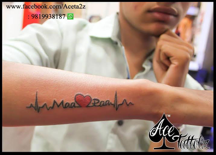Mom Dad Heartbeat Tattoo: Ace Tattooz