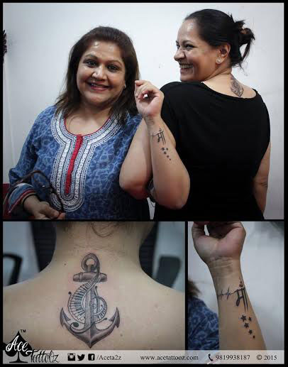 ANCHOR TATTOO WITH MUSICAL SYMBOL