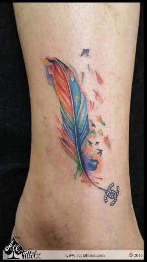 Colourful Anklet Feather Tattoos with Chanel logo