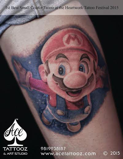 CARTOON MARIO COLOR TATTOO