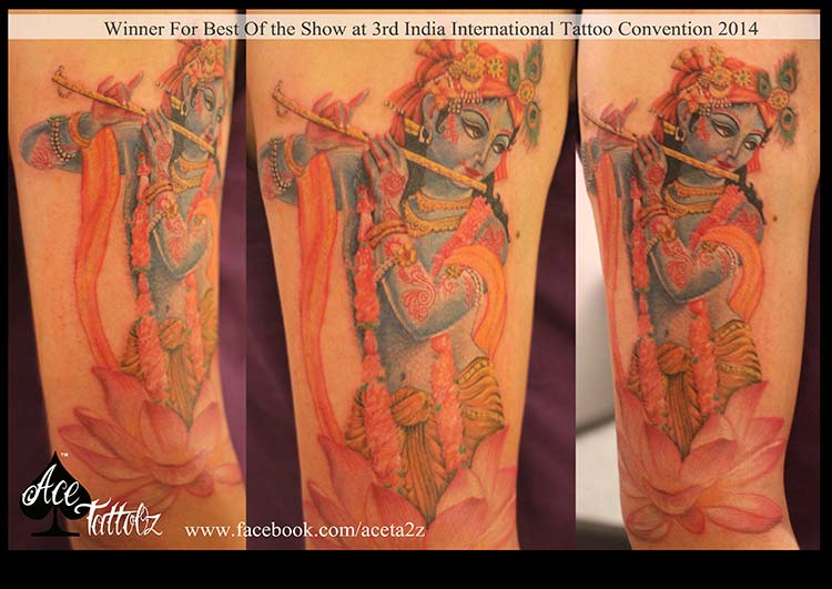 Award winning tattoo of Lord Krishna by the best female tattoo artist in India