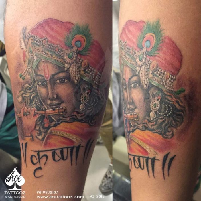 Lord Krishna tattoo playing flute