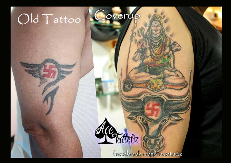 Lord Shiva Tattoos on Hand with Cover Up Tattoo and Extension Tattoo