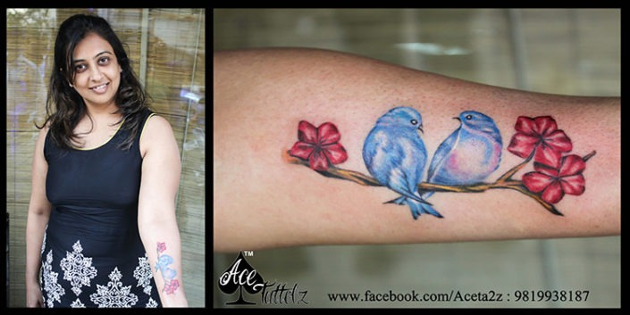 Bird & Flower Best Couple Tattoos Ever