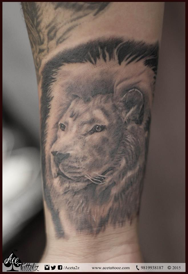 Lion Tattoo on Forearm
