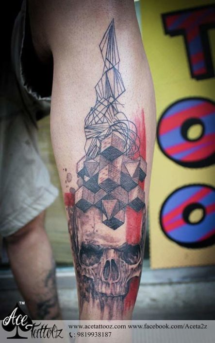 Best Leg Tattoo Designs Ever with Skull