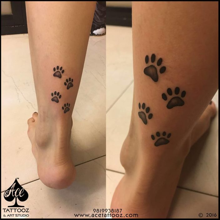 Dog Print Leg Tattoo Designs