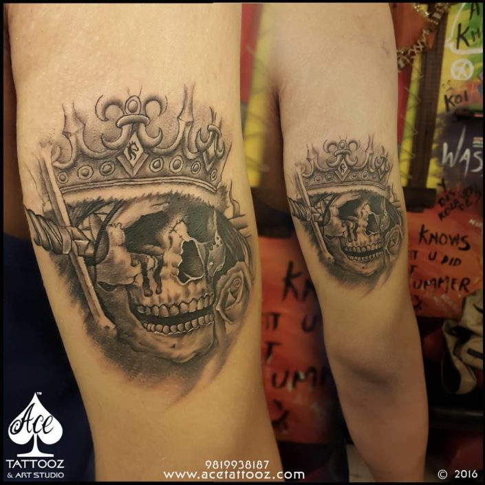 Skull Tattoos Designs for Men with Crown
