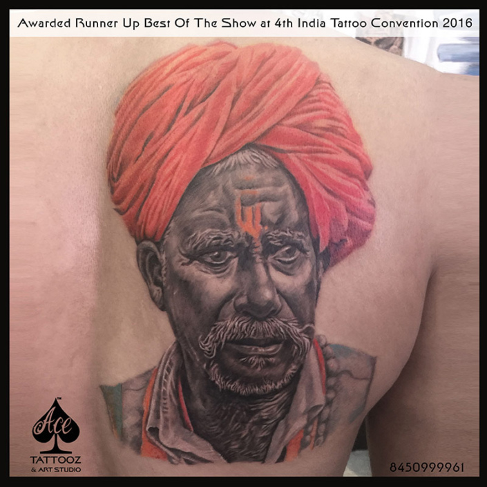 Color Tattoo Design Ideas with Old Man Portrait