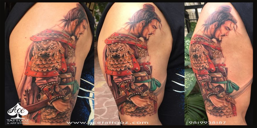Samurai Warrior 3D Tattoo Designs on Hand