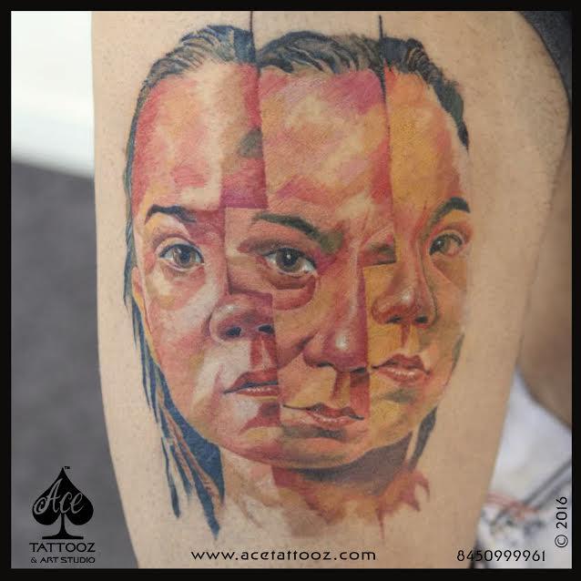 Three Face Portrait Tattoo