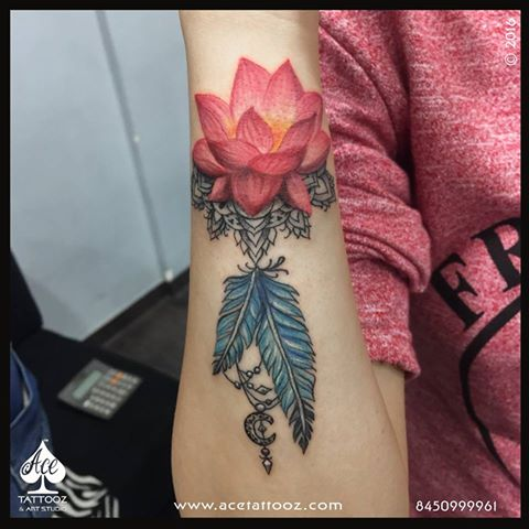 Lotus with Feather Tattoo