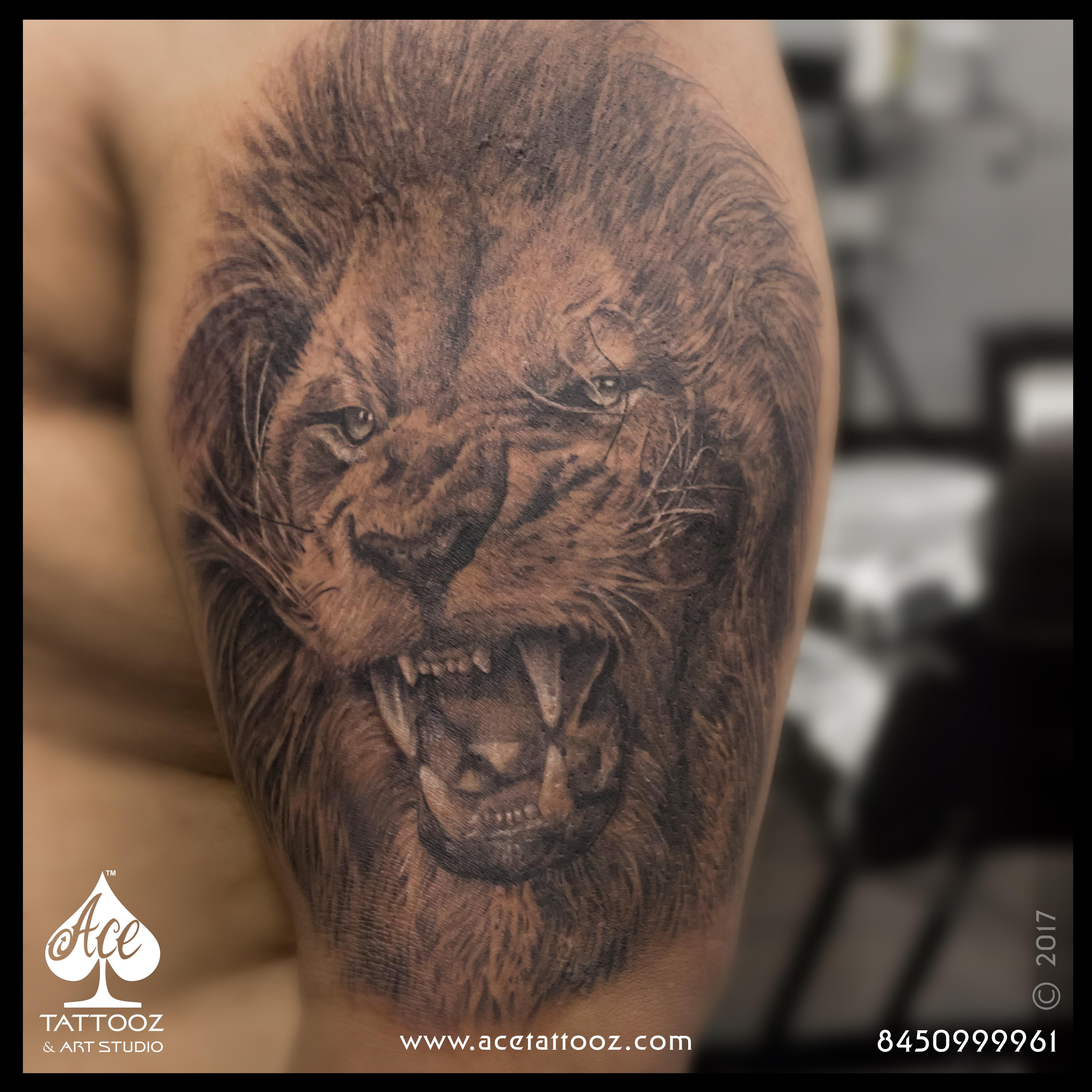 57f4cc980 3D Realistic Lion Tattoo - Ace Tattooz & Art Studio Mumbai India