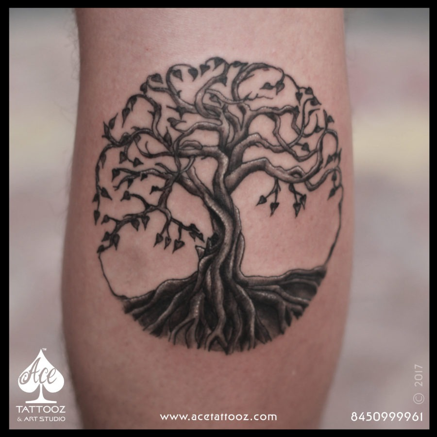 Tree of Life Black and Grey Tattoo Designs