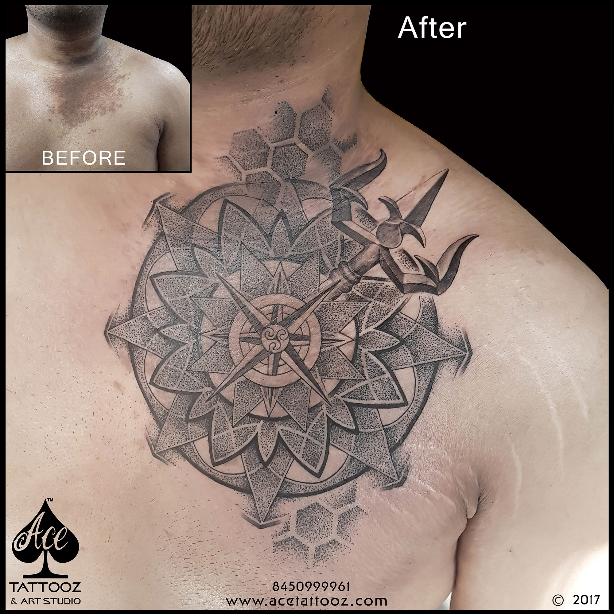 Dotwork Mandala Scar Coverup Black and Grey Tattoo Designs