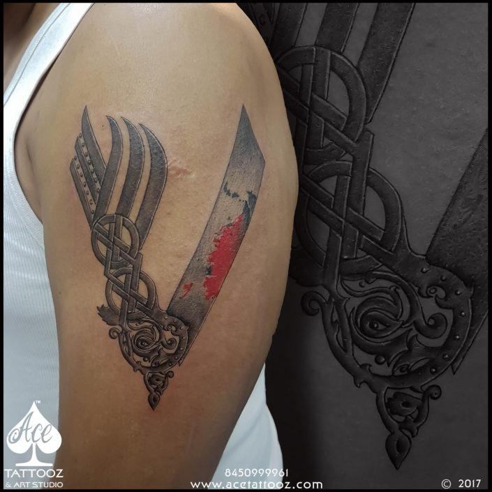 Vikings V Symbol Black and Grey Tattoo Designs
