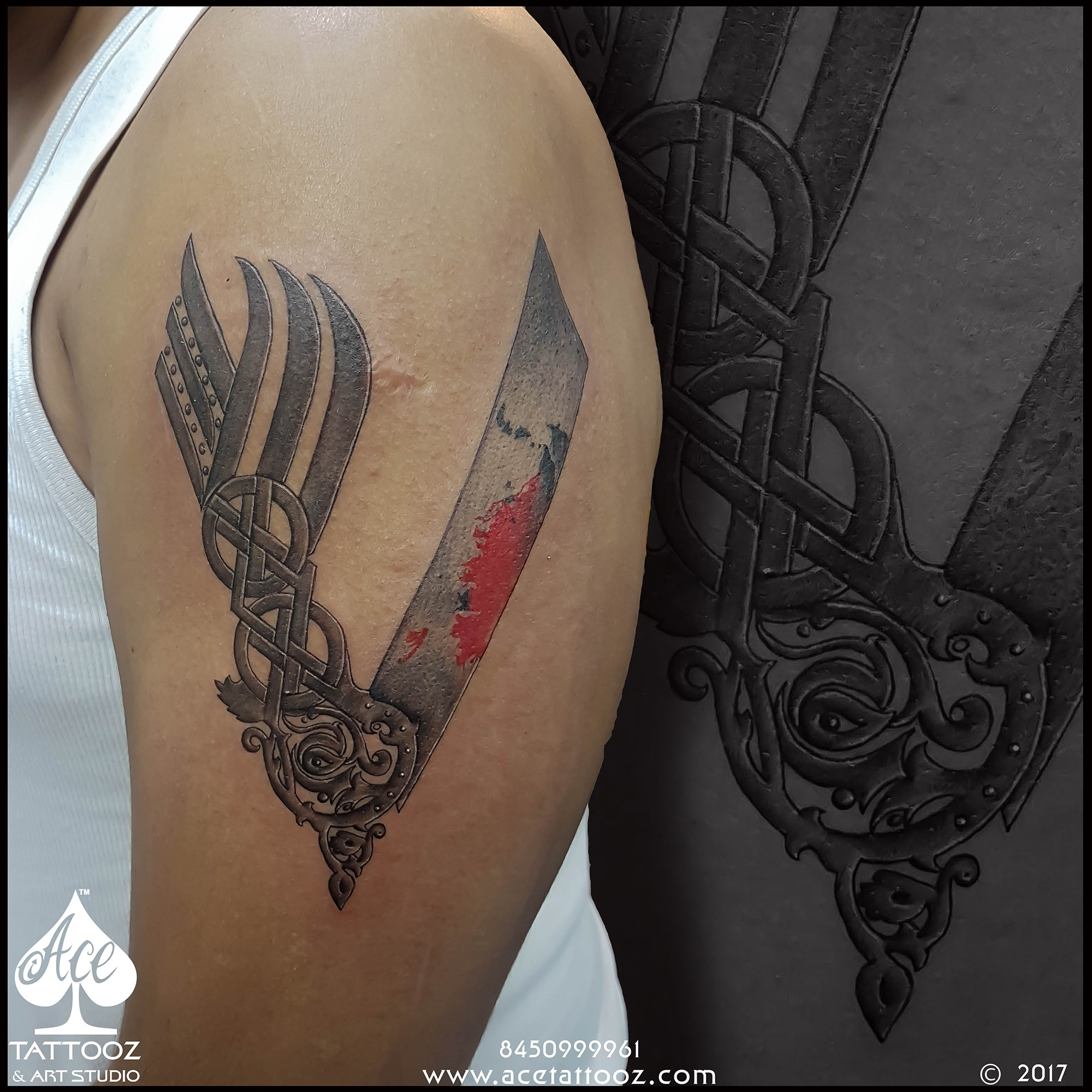 Vikings V Symbol Black and Grey Tattoo Designs