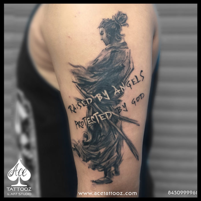 Miyamoto Musashi Samurai Black and Grey Tattoo Designs