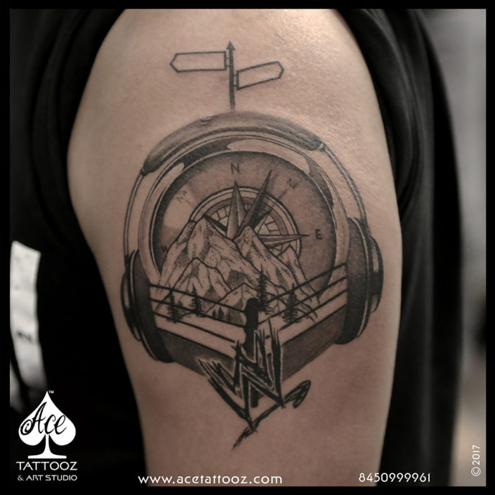 WWE Compass 3D Tattoo Designs on Hand