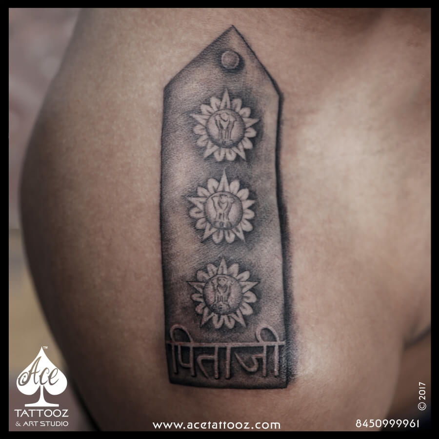 Army Rank Shoulder Tattoos for Men