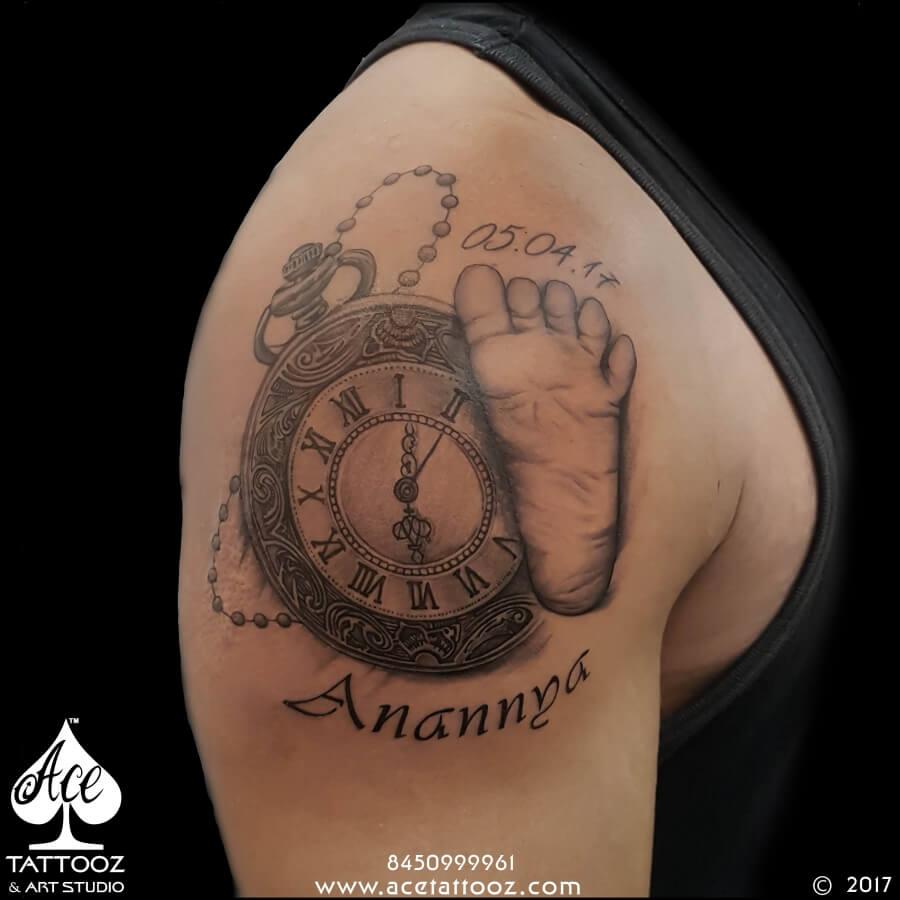Baby Foot Mark & Clock Tattoo