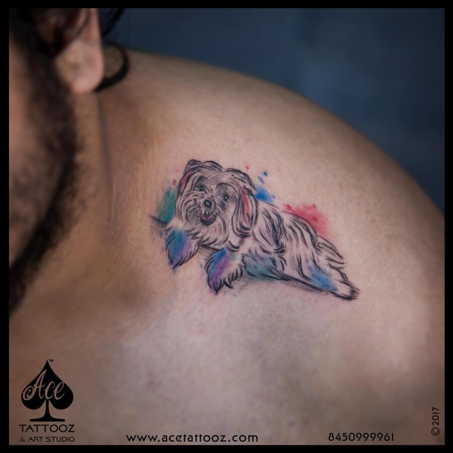 Shoulder Tattoos for Men with Dog