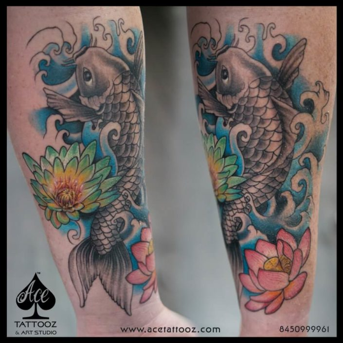 Koi Fish Color Tattoo Design Ideas