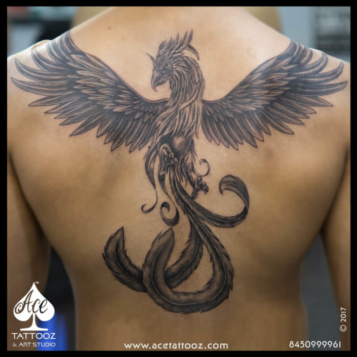 Rising Phoenix Back Tattoo Designs for Men
