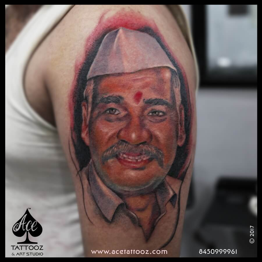 Father Portrait Color Tattoo Design Ideas