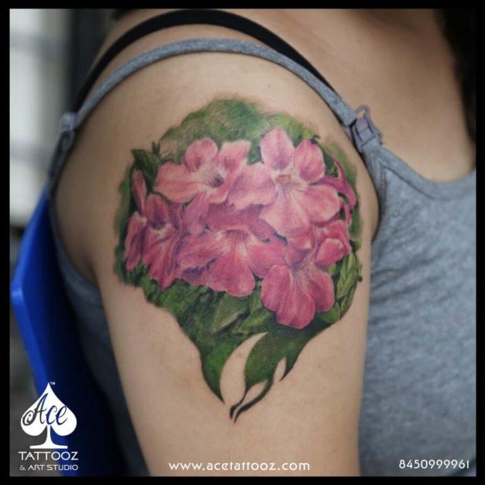 Realistic Flower Colour Tattoo