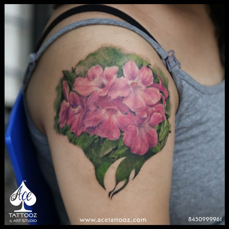 Realistic Flower Colour Tattoo