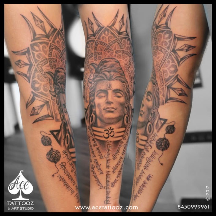 Lord Shiva Tattoos with Mandala Trishul