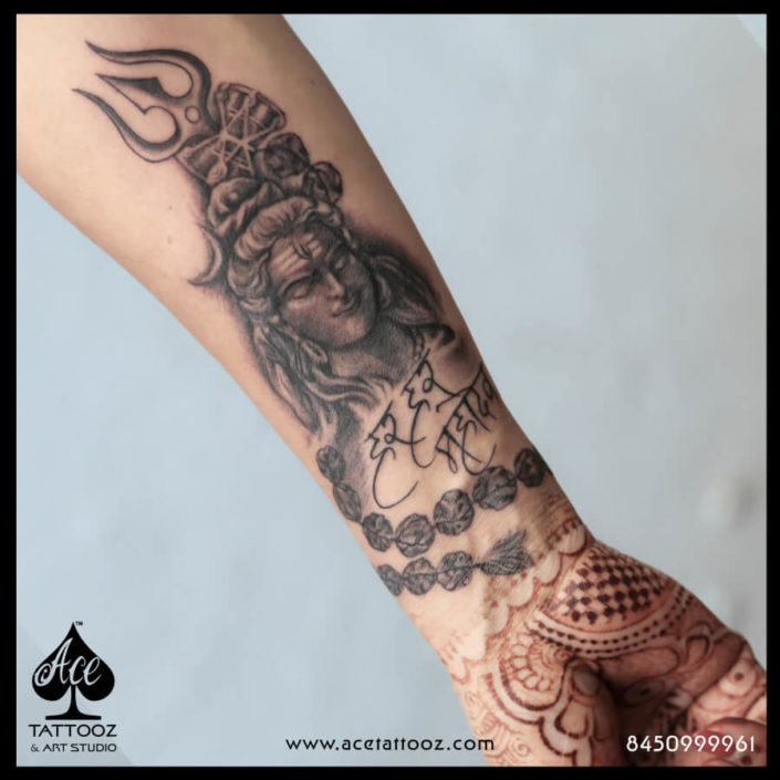 Rudraksha Shiva Tattoo on Hand