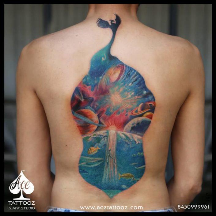 Upside Down Universe Colour Back Tattoo Designs for Men