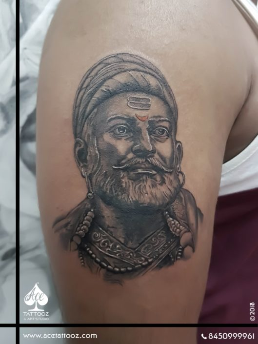 Chhatrapati Shivaji Maharaj Tattoo Portrait Tattoos on Arm
