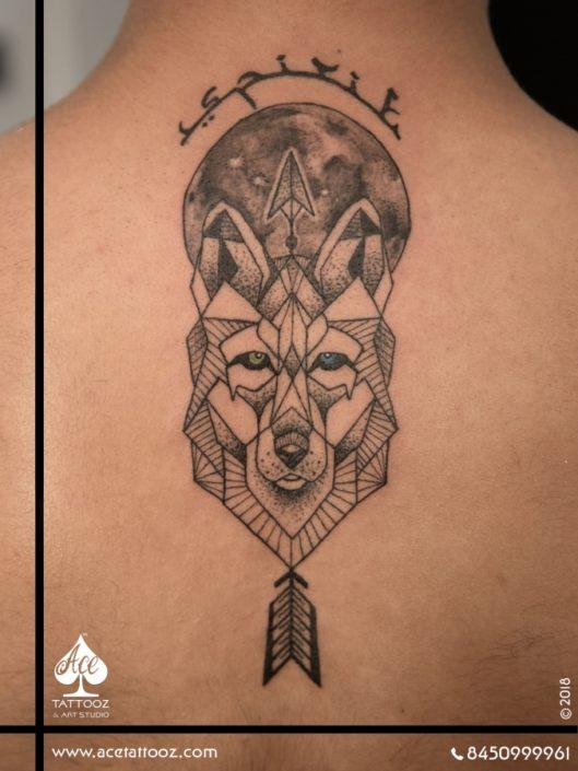 Geometric Wolf Black and Grey Tattoo Designs