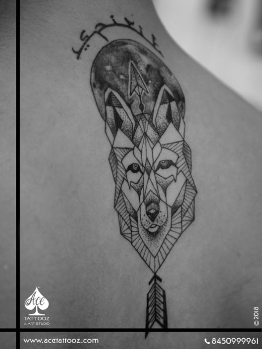 Geometric Wolf Black and Grey Tattoo Designs