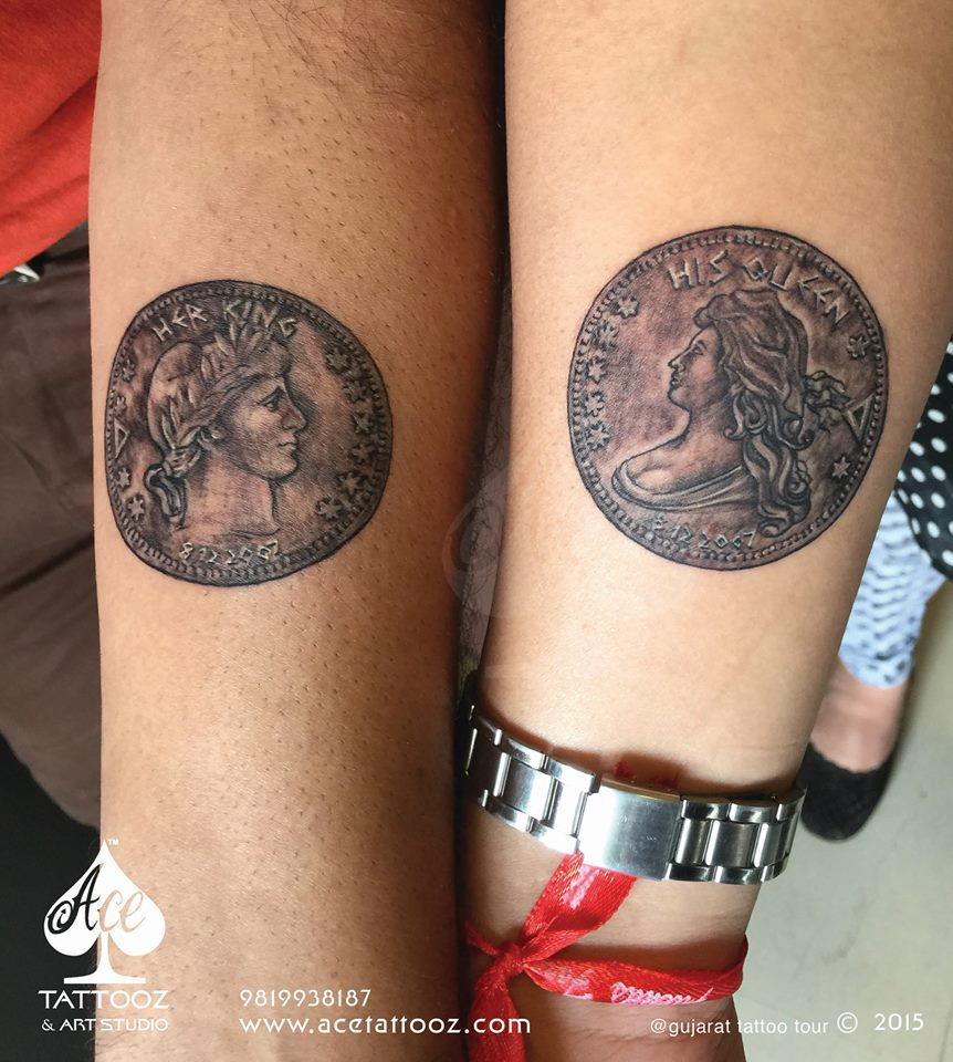 Greek King & Queen Coin Best Couple Tattoos Ever