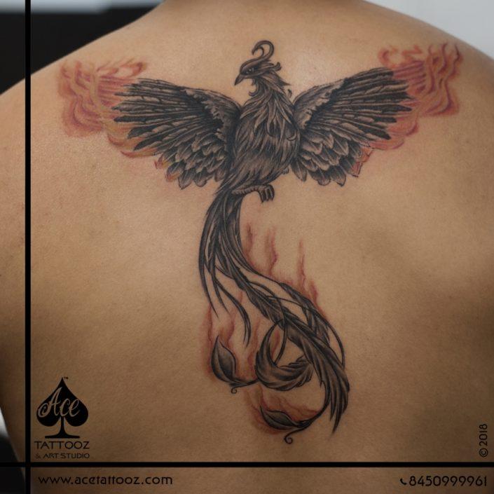 Phoenix Back Tattoo Designs for Men