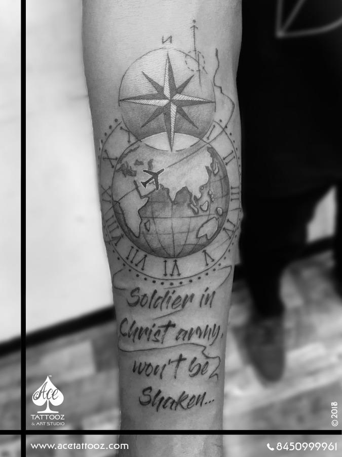 Travel Globe Black and Grey Tattoo Designs