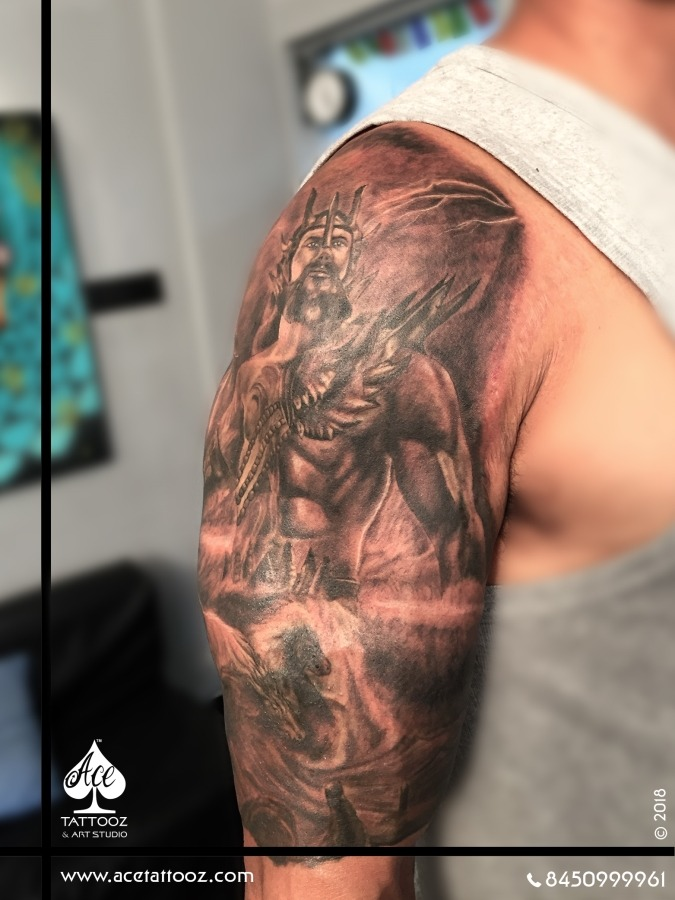 Greek God Poseidon Black And Grey Tattoo Designs Ace Tattooz